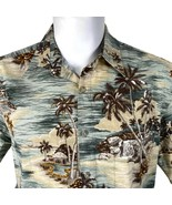 Hollis River Palm Trees Huts Islands Large Hawaiian Aloha Shirt - $24.74