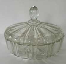 "Vintage Anchor Hocking Old Cafe Round Candy Dish w Lid Clear Glass 6.75""   - $35.99"