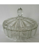 """Vintage Anchor Hocking Old Cafe Round Candy Dish w Lid Clear Glass 6.75""""   - $35.99"""
