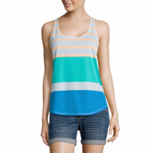 Arizona Women's Juniors Racerback Tank Top White Peach Stripe Size XXL New - $14.84