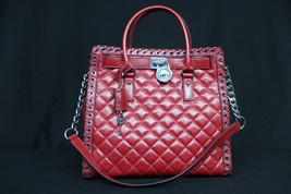 NWT Michael Kors NS Hippie Grommet Hamilton Quilted Large Convertible Tote. Red - $289.00