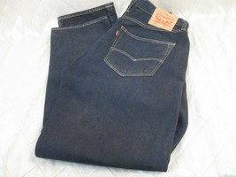 LN Altered Levis 501 Mens Button Fly 36 x 32 Dark Blue Denim fits 34 waist - $34.65