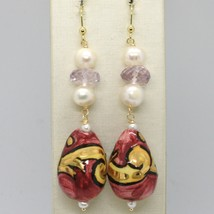 18K YELLOW GOLD EARRINGS AMETHYST PEARL & CERAMIC BIG DROP HAND PAINTED IN ITALY image 1
