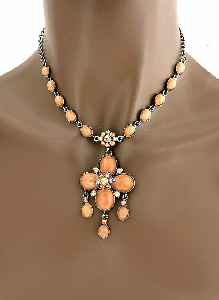 Primary image for Vintage Inspired Pendant Necklace Earrings Salmon Coral Iridescent Crystals