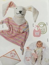 Burda Sewing Pattern 9635 Infant Baby Accessories Bibs Soft Toy Blanket New - $16.31
