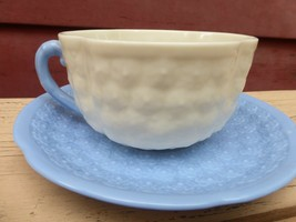Lenox China Hawthorne Blue Cup & Saucer Set with Embossed Flowers - $20.58