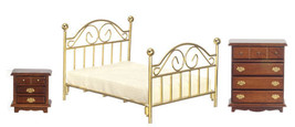 DOLLHOUSE MINIATURES 3PC WALNUT DOUBLE BRASS BED SET #T5925 - $38.60