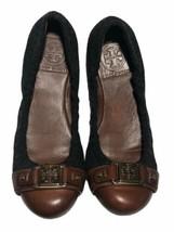 Tory Burch Ambrose Women's Grey Flannel/Cognac Leather Cap Toe Ballet Flats - 6M - $59.39