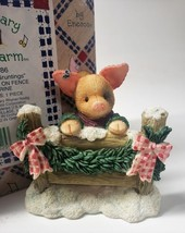 "Enesco Mary Mary Had A Farm #274186 1997 ""Seasons Gruntings"" Pig Sitting on Fenc - $31.49"