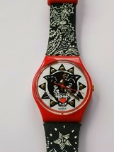 "Swatch ""Rap""quartz movement unisex AG 1993 panther head watch - $21.28"