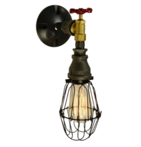Farmhouse-Retro Wall Sconce, Hallway Lighting E-26 Bulb & Brass Water Valve - $89.00