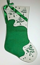 "19"" Felt Christmas Stocking W/ Green Satin Bow Green with white Pine tre... - $11.87"