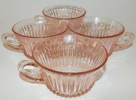 4 Anchor Hocking Depression Glass Pink Queen Anne Tea Cups Vintage 1930's - $39.59