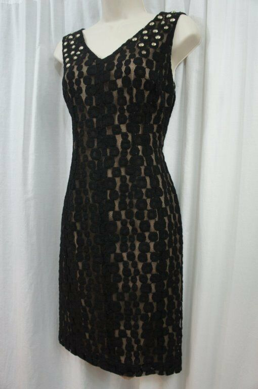 Anne Klein Dress Sz 4 Black Illusion Sleeveless Embellished Dinner Cocktail Dres