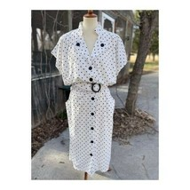 Vintage 80s Polkadot Dress Volup Belted Batwing Business Sz 22 - $44.55