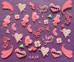 BANG STORE Nail Art 3D Decal Stickers Pink Sweet Hearts I Love You Valentine's  - $3.67