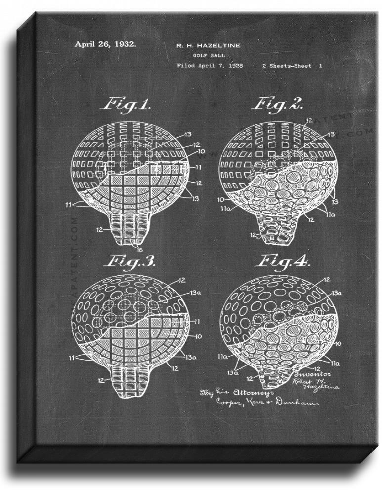 Primary image for Golf Ball Patent Print Chalkboard on Canvas