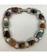 "Vintage Semi Precious Gemstone Link Bracelet Multicolor Polished 7"" Long - $14.81"