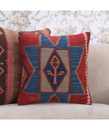 "Designer Kilim Pillowcase Anatolian 16x16"" Interior Decor Throw Pillow - $54.35"