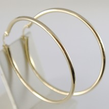 18K YELLOW GOLD ROUND CIRCLE EARRINGS DIAMETER 40 MM, WIDTH 2 MM, MADE I... - $220.00
