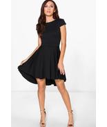 Boohoo Maisie Cap Sleeve Dip Hem Skater Dress Black Size US 6 NWT - $23.75