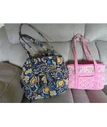 Vera Bradley Ellie Blue Satchel and Bermuda Pink Purse Quilted Handbags ... - $34.99