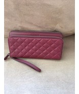 Coach Park Quilted Leather Double Accordion Zip Wallet F49870 Burgundy - $148.50