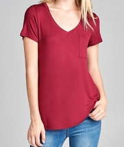 Relaxed Short Sleeve Shirt, V Neck Pocket Tee, Burgundy Pocket Tee, Womens
