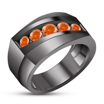 Round Cut Orange Sapphire 14k Black Gold Plated 925 Silver Men's Engagem... - $97.50
