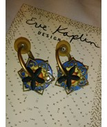 UNIQUE EVE KAPLIN EARRINGS HANDMADE ABSTRACT ART JEWELRY blue orange rou... - $44.55