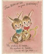 Vintage Birthday Card Bunny Rabbits with Wishbones Gibson 1950's - $7.91