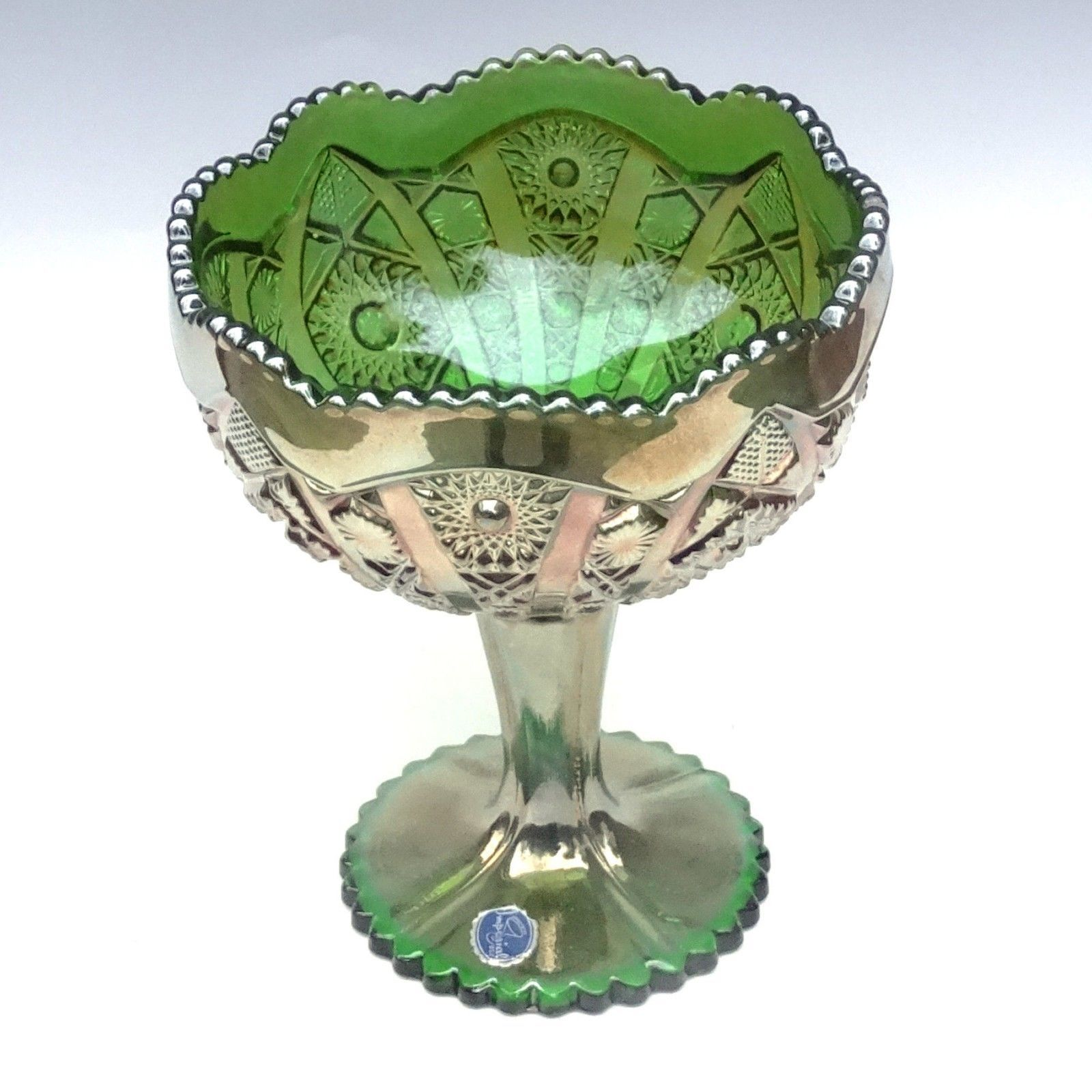 Imperial Carnival Glass Green Octagon Large Compote Comport Candy Chalice Label image 3