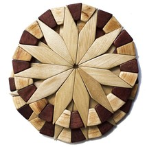 Natural Wood Trivet Handmade Festive Design Table Kitchen Décor Round Ho... - $18.78