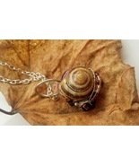 Magical Insights necklace: Natural snail with purple beadwork - $36.00