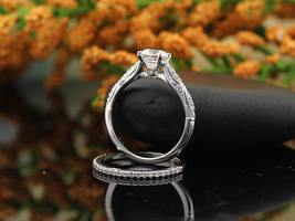 Forever Vintage D/VVS1 Diamond 14k White Gold Over Silver Engagement Ring Set - $111.19