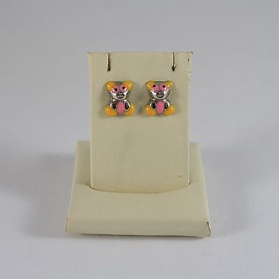925 Silver Earrings Stud with Enamel Bear