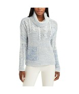 CHAPS Women's Patchwork Cowl-Neck Sweater - Blue Cream - Small S - $32.50