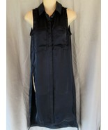 Catherine Malandrino  shirt dress maxi casual XS navy sleeveless slits NEW - $13.67