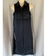 Catherine Malandrino  shirt dress maxi casual XS navy sleeveless slits NEW - $13.67