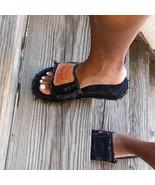 Black Denim Slides - $31.50+
