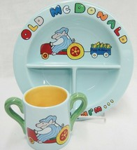 Judie Bomberger Childs Dish Set Old McDonald Had a Farm Blue Ceramic Unu... - $24.74