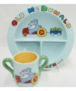 Judie Bomberger Childs Dish Set Old McDonald Had a Farm Blue Ceramic Unu... - $24.74