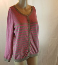 H&M Basic Women's Cardigan Sweater Brown Pink Size Large Button Down  - $18.58 CAD