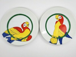 """2X Fitz & Floyd PARROT IN RING Salad Plates 7 1/2"""" Vintage 1979 Excellent - $16.99"""