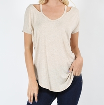 High Low Dolman Sleeve Top, Strappy Relaxed Top, Short Sleeve, Womens, Beige