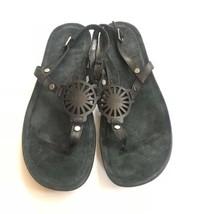 UGG Ayden Thong Sandal Women Shoes 10 Black Shoes Leather - £31.27 GBP
