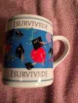 1988 Enesco Graduation Coffee Mug / CUP--I SURVIVED----FREE SHIP--NEVER Used - $14.26