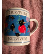 1988 ENESCO GRADUATION COFFEE MUG / CUP--I SURVIVED----FREE SHIP--NEVER ... - $14.26