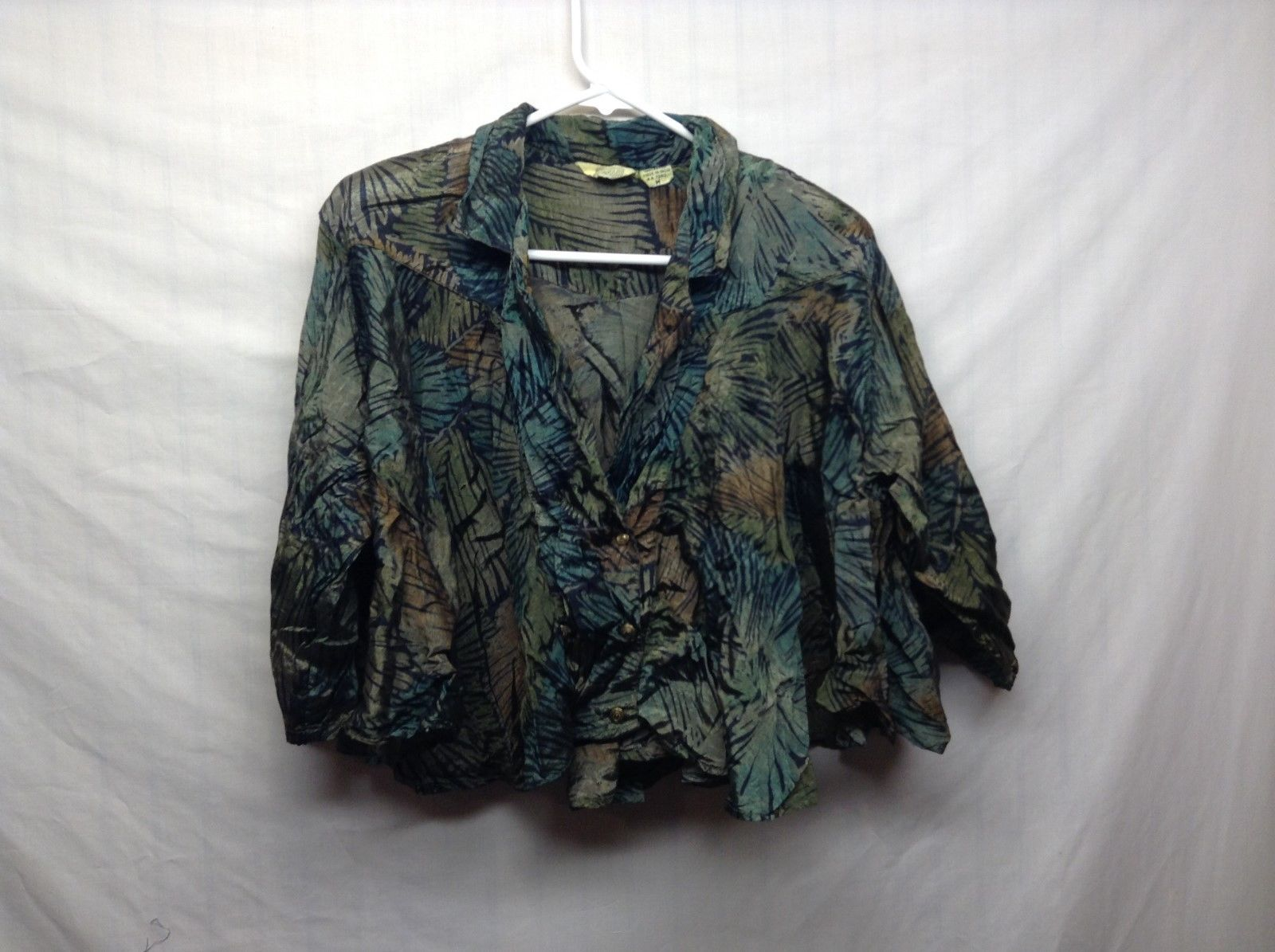 Giallo Napoli Green Gold Forest Print Blouse Sz L