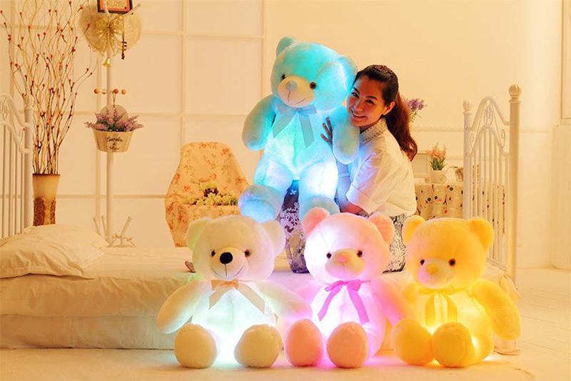 LED Flash Teddy Bear Stuffed Animals Colorful Plush Baby Toy Christmas Gifts for sale  USA